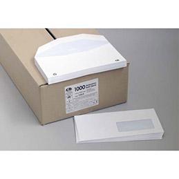 Enveloppes velin blanc pour insertion mécanique - 80g - fenêtre 35 x 100 mm - format 115 x 225 mm - boîte de 1000 (photo)
