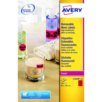 Étiquettes d'identification enlevables couleur Avery L7263R - 99,1 x 38,1 mm - 25 feuilles - 14 Étiquettes par feuilles A4- rouge fluorescent - paquet 350 unités (photo)