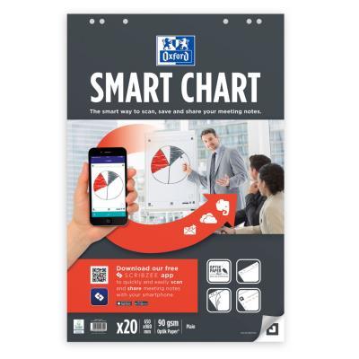 Bloc pour tableau de conférence Oxford SmartChart - 6 trous - 650 x 980 mm - blanc uni - 20 feuilles - 90 g/m² (photo)
