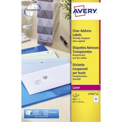 Étiquettes d'expédition Avery pour imprimantes laser - 99,1 x 33,9 mm - 25 feuilles - 16 Étiquettes par feuille - auto-adhésives - transparentes - paquet 25 feuilles (photo)