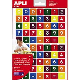 Feuilles de 210 gommettes chiffres et symboles mathématiques - coloris assortis - sachet de 3 feuilles (photo)