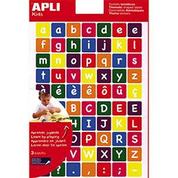 Feuilles de 210 gommettes alphabet majuscule et minuscule - coloris assortis - sachet de 3 feuilles (photo)