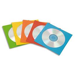 Paquet de 50 enveloppes de couleur pour CD - coloris assortis (photo)