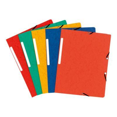 Chemise Exacompta simple à élastique - carte lustrée 5/10e - 390g - coloris assortis rouge/vert/jaune/bleu/orange