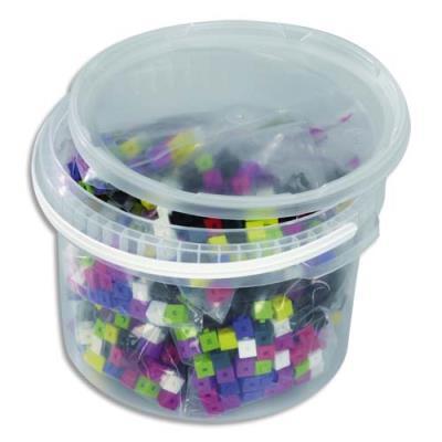 Jeu de construction - baril de 1000 cubes plastique 1 cm - 10 couleurs emboîtables (photo)