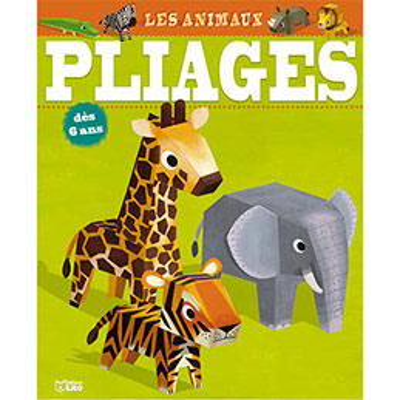 Bloc de 16 pages - 7 animaux à plier sans ciseaux sans colle et gommettes pour décorer (photo)