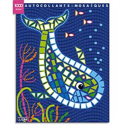 Bloc de 7 images mosaïque - avec gommettes pour décorer - thème baleines et assortis (photo)