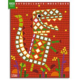 Bloc de 7 images mosaïque - avec gommettes pour décorer - thèmes dinosaures et assortis (photo)