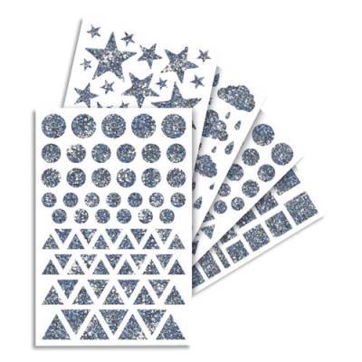 Feuilles de gommettes holographiques assorties - sachet de 20 feuilles (photo)