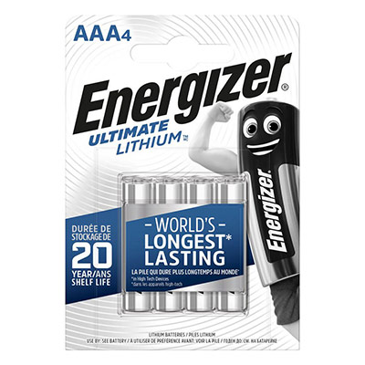 Pile Energizer AAA LR03 Ultimate lithium - blister de 4 piles