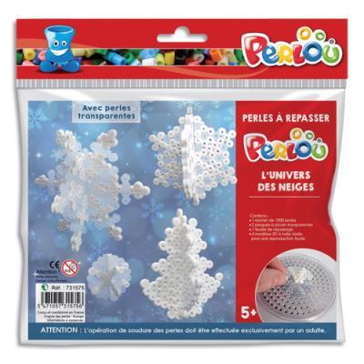 Kit d'activité perles à repasser - 1000 perles assorties - 1 plaque - thème l'univers des neiges (photo)