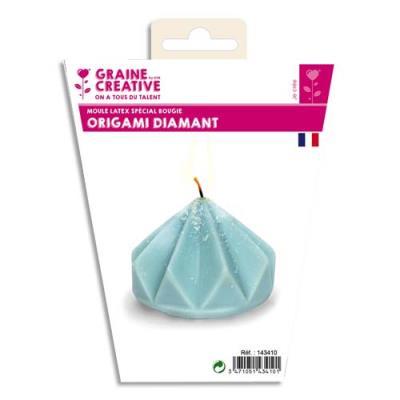 Moule en latex - 80 x 70 mm - forme Origami diamant pour fabriquer des bougies (photo)
