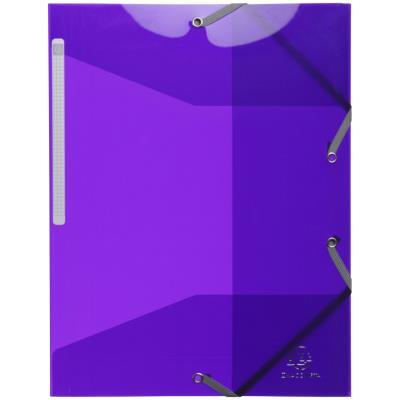 Chemise Exacompta 3 rabats à élastiques - en polypropylène 5/10e - violet translucide