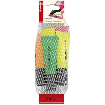 Pack de 5 surligneurs STABILO BOSS NEON - pointe biseautée - encore à base d'eau - coloris assortis