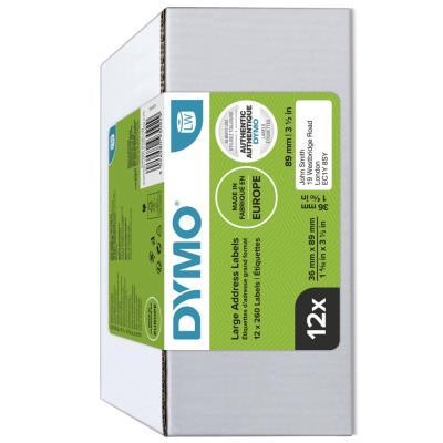 Étiquettes d'adresse grand format S0722400 pour titreuse labelWriter 89 x 36 mm - noir sur fond blanc - paquet 12 rouleaux (photo)