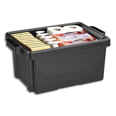 Bac de rangement superposable avec poignée - 32 litres - noir