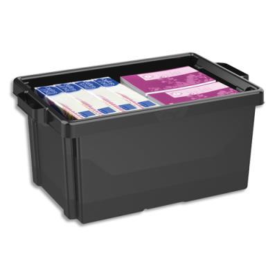 Bac de rangement superposable avec poignée - 48,5 litres - noir