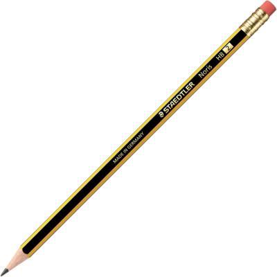 Crayon de papier Staedtler Noris avec gomme - mine HB - corps hexagonal jaune et noir - boîte de 12