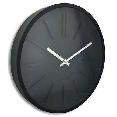 Horloge murale analogique Goma silence - Ø 35 cm - noir (photo)