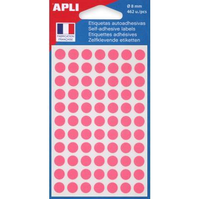 Pastilles adhésives de couleur Agipa - Ø 8 mm - pochette de 462 - coloris rose
