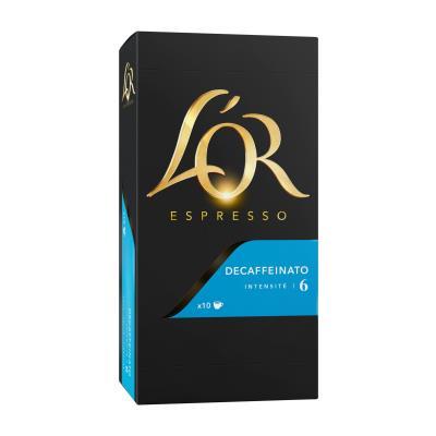 Capsules de café décaféiné L'Or compatibles Nespresso - Decaffeinato - boîte de 10