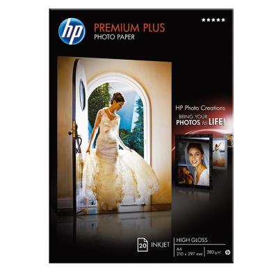 Papier photo Premium Plus HP CR672A - A4 21 x 29,7 cm - 300 g - finition brillante - boîte de 20 feuilles