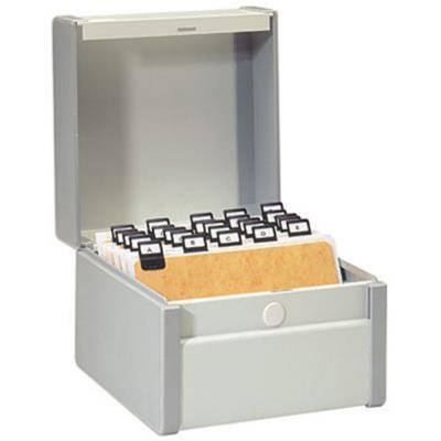 Boîte à fiches métal - fichier en largeur - 190 x 230 mm - gris