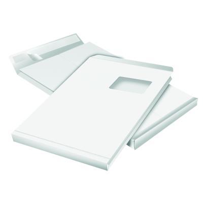 Enveloppe kraft - format C4 - 30 x 229 x 324 mm - avec fenêtre - 130 g/m² fermeture autocollante avec bande protectrice - blanc - paquet 50 unités