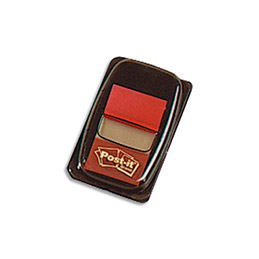 Carte de 50 Index Post-it repositionnables - 2.5 x 4,4 cm - rouge (photo)