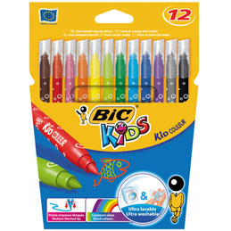 Etui de 12 feutres de coloriage Bic Kids Couleur - pointe moyenne - coloris assortis (photo)