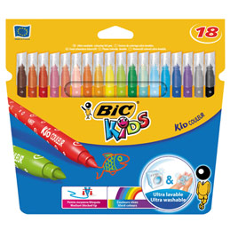 Etui de 18 feutres de coloriage Bic Kids Couleur - pointe moyenne - coloris assortis (photo)
