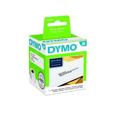 Etiquette adresse papier 28 x 89 mm Dymo S0722370 blanche - Boîte de 2 rouleaux de 130