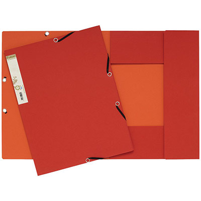 Chemise Exacompta Forever A4 à 3 rabats et à élastiques - 225 feuilles - 240 x 320 mm - carte recyclé - rouge