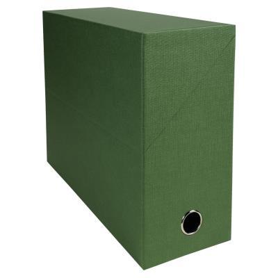 Boîte de transfert Exacompta - en carton rigide recouvert de papier toilé - dos 12 cm - vert