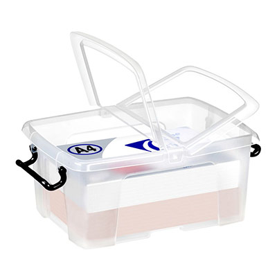 Boîte de rangement en plastique Strata - 12 L - couvercle clipsé - dim int 22,1 x 31,5 x 15,6 cm