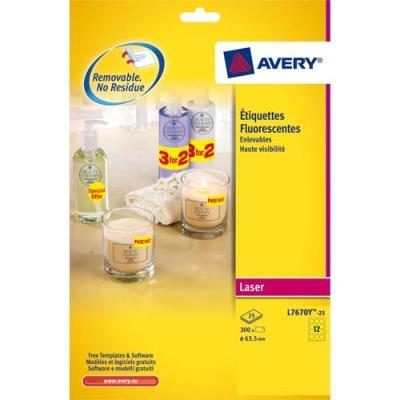 Etiquettes Avery L7670Y - laser - jaune fluo - diamètre 63.5 mm - boîte de 300