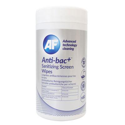Lingettes de nettoyage pour écrans Af Cleaning - antibactériennes et désinfectantes  - boîte de 60 (photo)