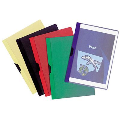 Chemise A4 transparente en PVC - 30 feuilles - clip latéral - couleurs assorties