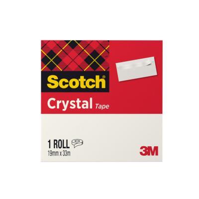 Ruban adhésif Scotch Crystal Clear 600 - 19 mm x 33 m - haute transparence - en boîte individuelle