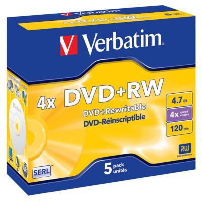 DVD+RW vierge Verbatim - réinscriptible - 4,7 Go - 120 min - vitesse 4 X - lot de 5