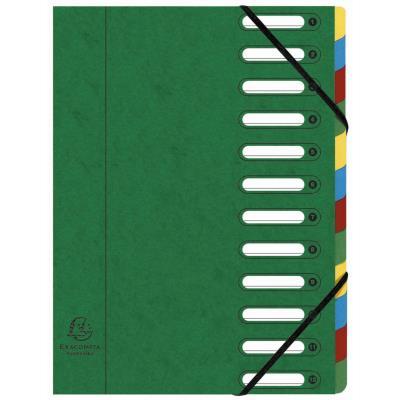Trieur à élastique Exacompta Nature Future Harmonika Multipart A4 avec dos extensible à soufflets et fenêtres prédécoupées - 600 feuilles - 12 compartiments - 240 x 320 mm - carte lustrée - vert