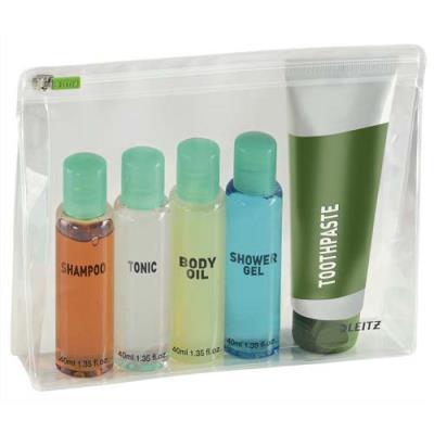 Pochettes enveloppe à zip + soufflet Traveller Leitz - PVC 2/10è - format M - coloris transparent - sachet de 2
