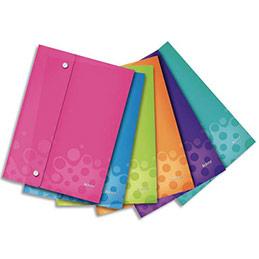 Pochette enveloppe à double pression WOW Elba - PP opaque -2/10è - format A4 - coloris assortis