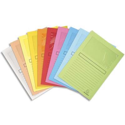 Pochettes coins Exacompta Super en carte 160g - avec fenêtre - coloris assortis - paquet de 10