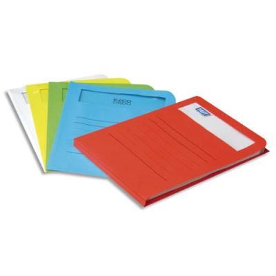 Pochettes coins Elba Elco - en carte 120g - fenêtre rectangle - boîte de 50 - coloris assortis