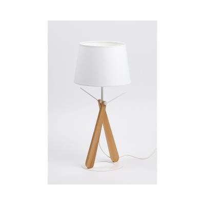 Lampe de bureau LED Zazou - puissance 40W - culot E27 - pied hêtre - socle et abat-jour blancs
