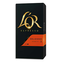 Dosettes de 52g de café moulu L'Or - gourmand 100% Arabica Espresso Delizioso n°5 - boîte de 10 (photo)