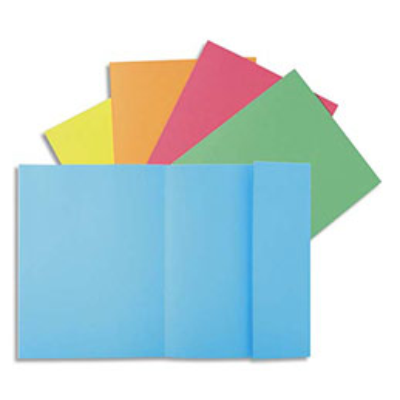 Chemise 1 rabat Exacompta - en carte 160g qualité peau - bleu - lot de 50 (photo)