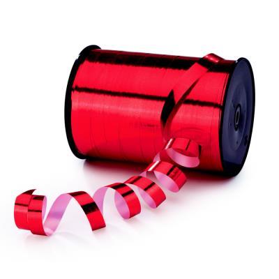 Ruban bolduc pour emballage cadeau Raja - bobine de 250 m x 1 cm  - rouge effet miroir (photo)