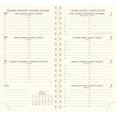 Agenda 2020 semainier Exacompta Eurotime - format 16 x 8,5 cm - janvier à décembre - couverture PVC noire (photo)